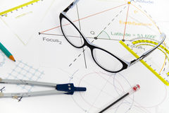 Business Architectural project, pair of compasses, glasses, rule Stock Photos
