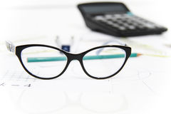 Business Architectural project, pair of compasses, glasses, rule Stock Images