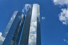 Business architecture for bank skyscraper in Frankfurt. Am Main Stock Photos