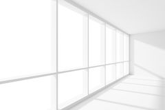 Large window empty white room with sun light. Business architecture white colorless office room interior - large window inempty white business office room with Royalty Free Stock Photography