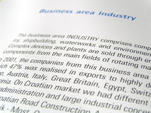 Business area. Business report text close up Stock Images