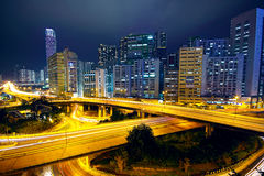 Business area of hongkong at night Royalty Free Stock Photography