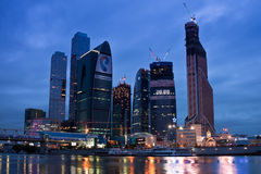 Business area Moscow City. Night view over the riv Royalty Free Stock Photography
