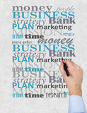 Business. Arm is writing about business on wall Royalty Free Stock Images