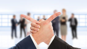 Business arms hand shake and finger point Royalty Free Stock Photography
