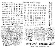 Business arrow bubble set sketch vector ink doodle eps10. Business arrow bubble set sketch vector ink doodle Royalty Free Stock Photos