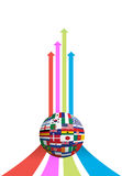 Business arrow and flag globe graph Royalty Free Stock Photo