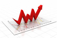 Business arrow Graph. 3d render of Business arrow Graph Stock Photo