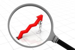 Business arrow graph with magnifying glass Royalty Free Stock Photos
