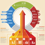 Business arrow infographic. With 3d look and pie chart Stock Photos