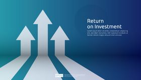 Business arrow target direction concept to success. Finance growth vision stretching rising up. banner flat style vector. Illustration. Return on investment ROI stock illustration