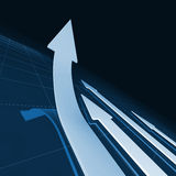 Business arrows background. 3d image of business financial running arrows Stock Images