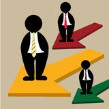 Business with arrows. Three businessman with yellow green and red arrows Royalty Free Stock Images