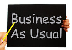 Business As Usual Blackboard Means Routine Royalty Free Stock Photos