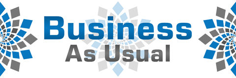 Business As Usual Blue Grey Banner Stock Images