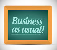 Business as usual message on a wood chalkboard Stock Image
