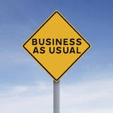 Business As Usual. A modified road sign indicating Business As Usualrn Stock Photos