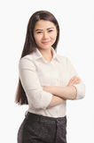 Business Asian girl smiling portrait. Looking ahead. royalty free stock image
