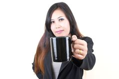 Business asian lady holding coffee cup. Stock Photography