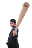 Business asian man take baseball bat Stock Image