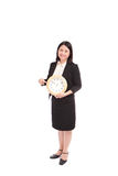Business asian woman holding clock Royalty Free Stock Photo