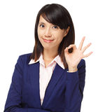 Business asian woman with ok hand gesture Stock Image