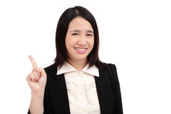 Business asian woman points finger isolated Stock Photos