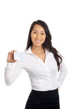 Business Asian Woman showing blank paper. Business Asian woman showing blank business card Stock Photos