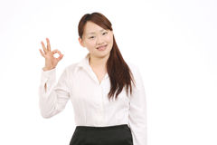 Business asian woman showing okay sign Royalty Free Stock Images
