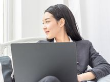 Business asian women working with notebook stock photography
