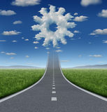 Business Aspirations. Success concept with a road or highway going forward fading into the sky with a group of clouds shaped as a gear or cog wheel as an vector illustration