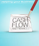 Business assistance and cash flow. A red pen pointing to a sign saying guide to cash flow and  finances and offering help to businesses Royalty Free Stock Image