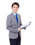 Business assistant with clipboard Stock Photo