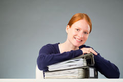 Business Assistant with a Stack of Documents Royalty Free Stock Photos