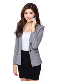 Business assistant talk to mobile phone Royalty Free Stock Images