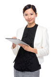 Business assistant use of digital tablet Stock Image