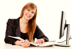 Business assistant working on the computer Royalty Free Stock Photo