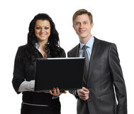 Business associates with laptop Royalty Free Stock Photos