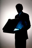 Business attache case. Business man opening attache case Royalty Free Stock Image