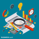 Business audit, analytics, report, financial statistic vector concept. Business audit, analytics, report, financial statistic flat isometric vector concept Royalty Free Stock Photos