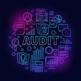 Business audit colorful illustration. Round vector financial analytics outline symbol made with word AUDIT and business icons on dark background Stock Photos