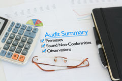 Business audit summary report Stock Photos