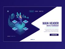 Business automated analytic system isometric icon, businessman hold a meeting, strategy formulation, chart analysis and. Trading, virtual graphics vector neon stock illustration