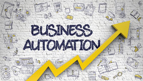 Business Automation Drawn on Brick Wall. Stock Images