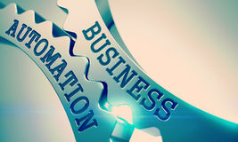 Business Automation - Message on Mechanism of Metal Gears. 3D. Royalty Free Stock Image