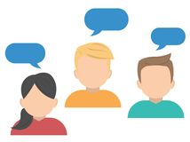 Business avatar character, working people with chat speech. Bubbles, vector illustration Stock Photography