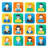 Business Avatar Icons Set. Avatar pictograms social networks users colorful square icons collection flat isolated vector illustration Stock Photo
