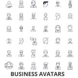 Business avatars, businessman, businesswoman, team, group, people, users line icons. Editable strokes. Flat design. Vector illustration symbol concept. Linear stock illustration