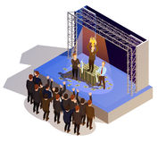 Business Award Winner Podium Isometric Isometric Image. Prestigious business award winner prize giving ceremony podium isometric view with golden trophy and Stock Photos