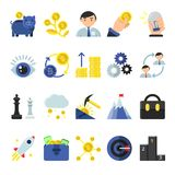 Business b2b symbols in flat style. Icons of management and finances. Business money, digital exchange bitcoin and payment electronic, vector illustration Royalty Free Stock Image